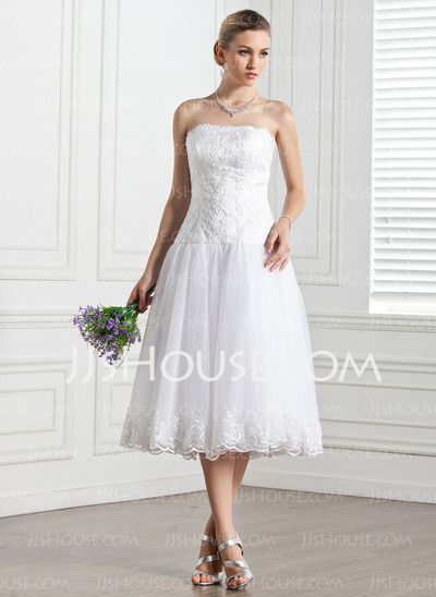 Wedding Dresses - $156.99 - A-Line/Princess Strapless Tea-Length Organza Wedding Dress With Lace (002000133) http://jjshouse.com/A-Line-Princess-Strapless-Tea-Length-Organza-Wedding-Dress-With-Lace-002000133-g133