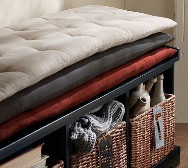 Samantha Tufted Bench Cushion, Sunbrella(R) Solid Navy