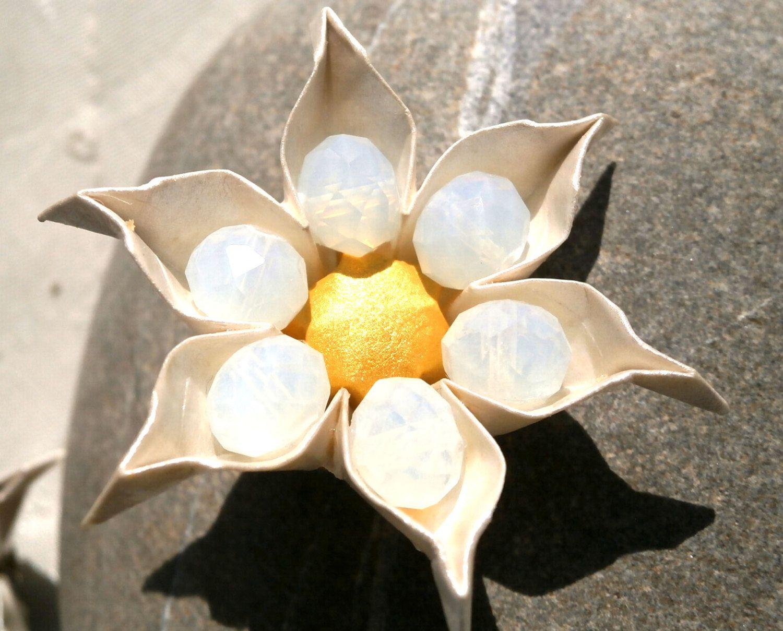 Wedding flower brooch origami brooch white flower brooch origami flower brooch paper flower brooch wedding flower brooch bridesmaids brooch bridal mightylinksfo