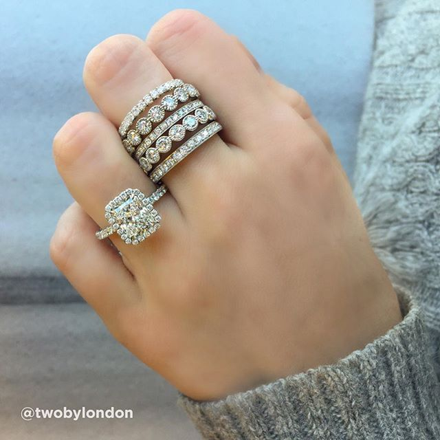 Take your pick  classic  modern or unique  we love these wedding     Take your pick  classic  modern or unique  we love these wedding band  stacks from  vramjewelry  available at  twobylondon