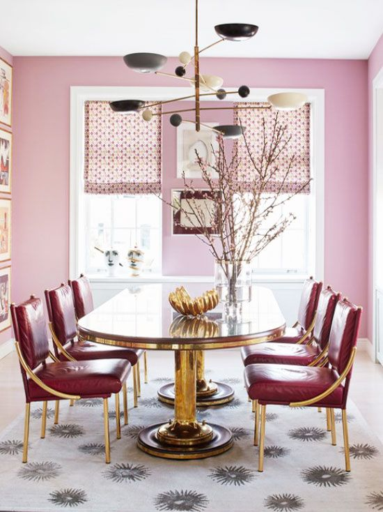 12 More Pink Rooms To Crush On  Room Living Spaces And Spaces Amusing Living Spaces Dining Room Design Ideas