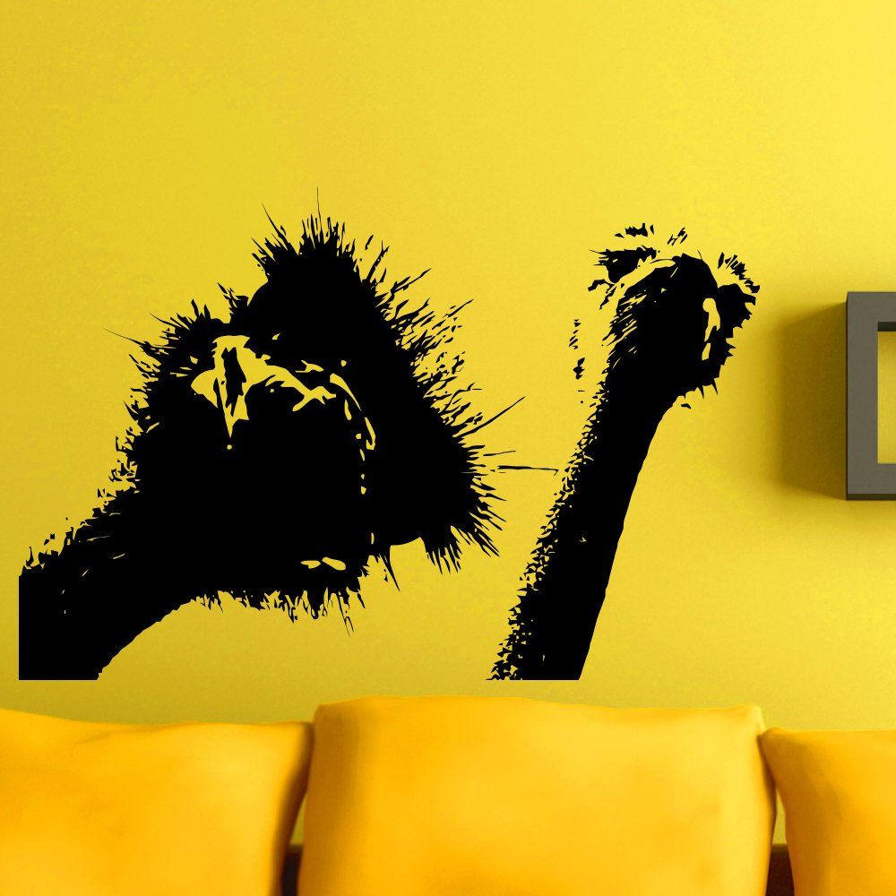 Wall Decals Ostrich Bird Camel-Bird Animal Bedroom Vinyl Sticker ...