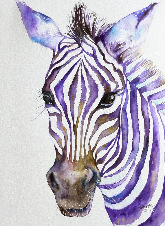 Zebra Stripes Contemporary Watercolor Painting Original Art 9x12