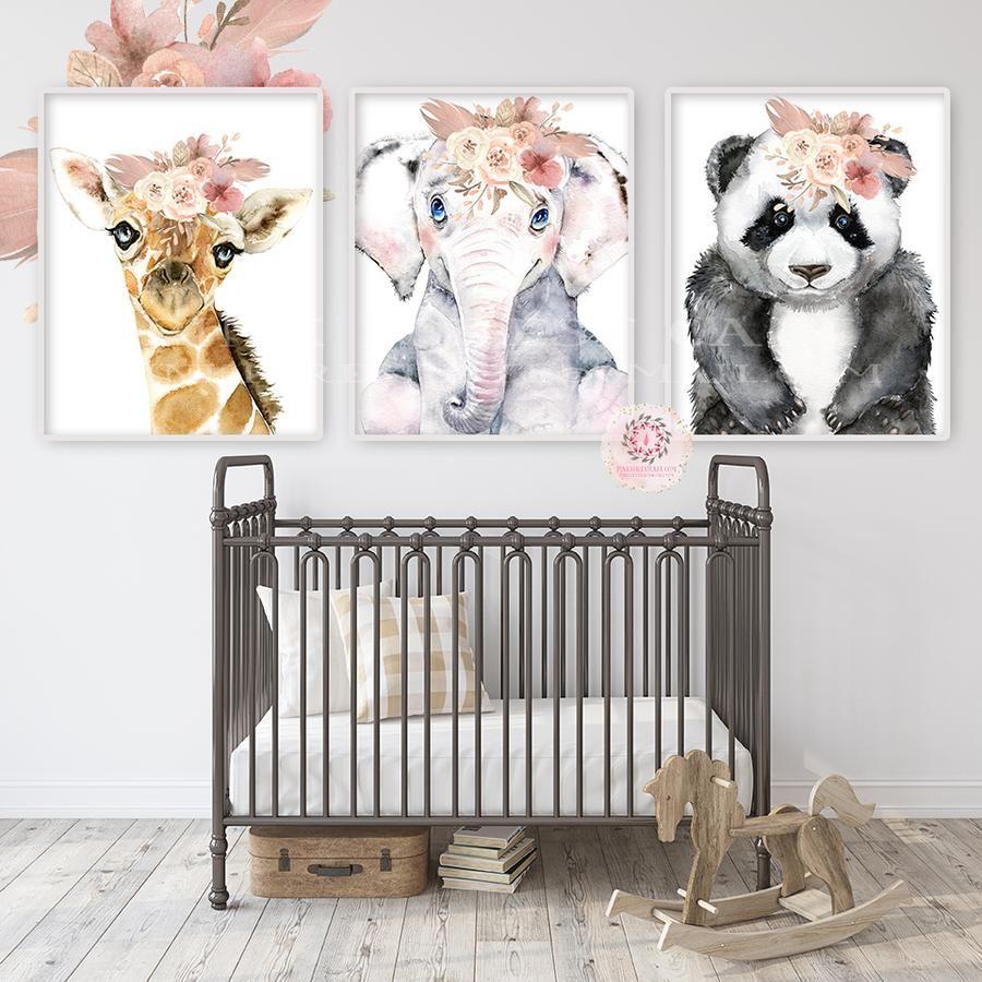 3 Boho Elephant Giraffe Panda Bear Wall Art Print Peonies Nursery Baby Girl Room Zoo Animal Blush Feather Floral Peony Bohemian Watercolor Set Prints Printable Decor images