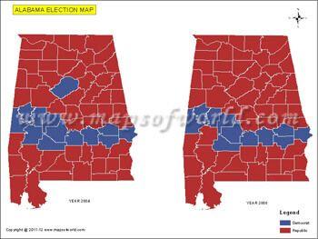 Alabama Election Results Map 2004 Vs 2008 USA Presidents Election
