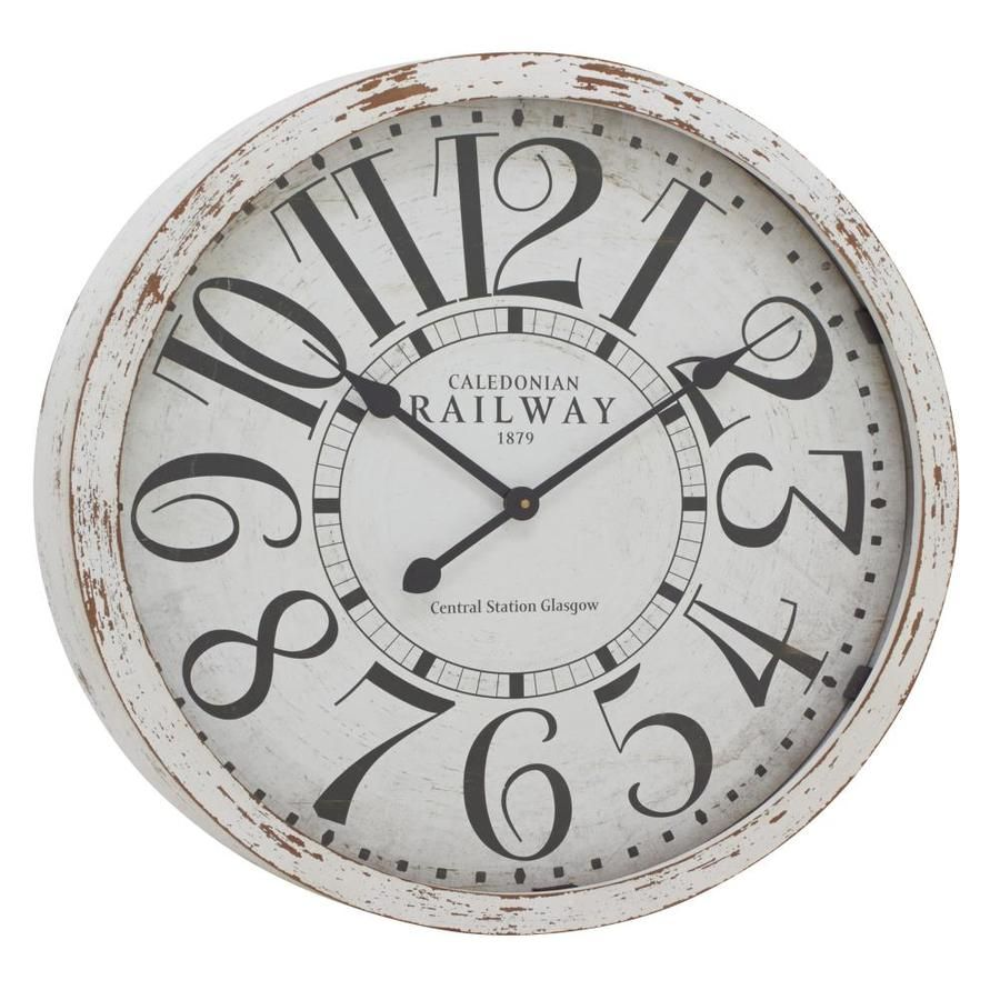 Grayson Lane Large Round Black And White Railway Wood Wall Clock With Distressed White Wood Rim 24 X 24 Lowes Com Vintage Wall Clock Wood Wall Clock Wall Clock