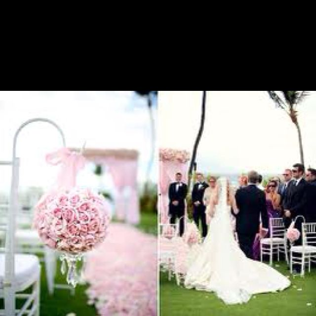 Beach Wedding Ceremony Michigan: Pink Roses Hanging On Shepherd Hook With Rose Pedals