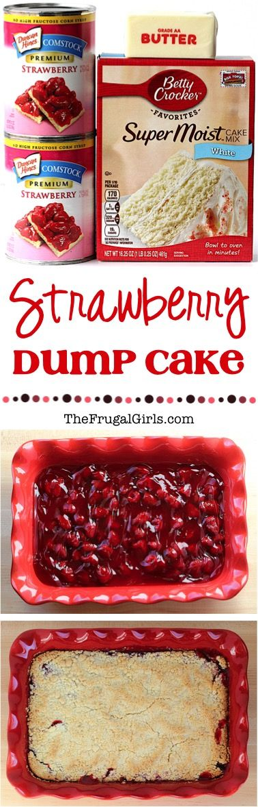 Strawberry Dump Cake Recipe! ~ at TheFrugalGirls.com ~ this EASY dessert is only 3 ingredients and SO delicious!  Just dump it in and enjoy the yummy results! #cakes #recipes #thefrugalgirls #easydesserts