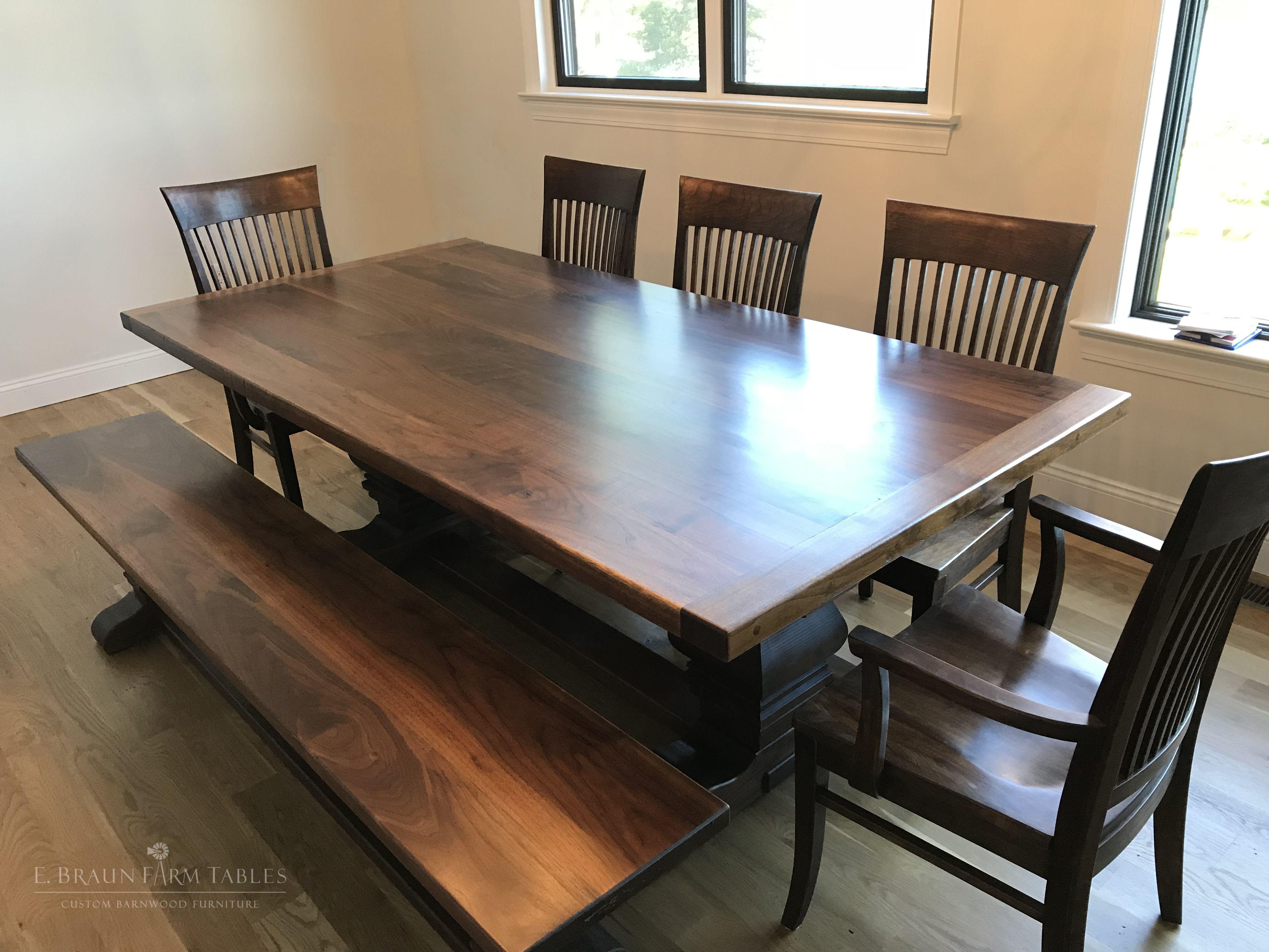 Walnut Trestle Table   Reclaimed barn wood, Custom kitchens ...