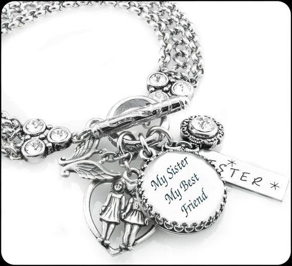 Personalized Sister Jewelry Bracelet Birthstone Birthday Gift