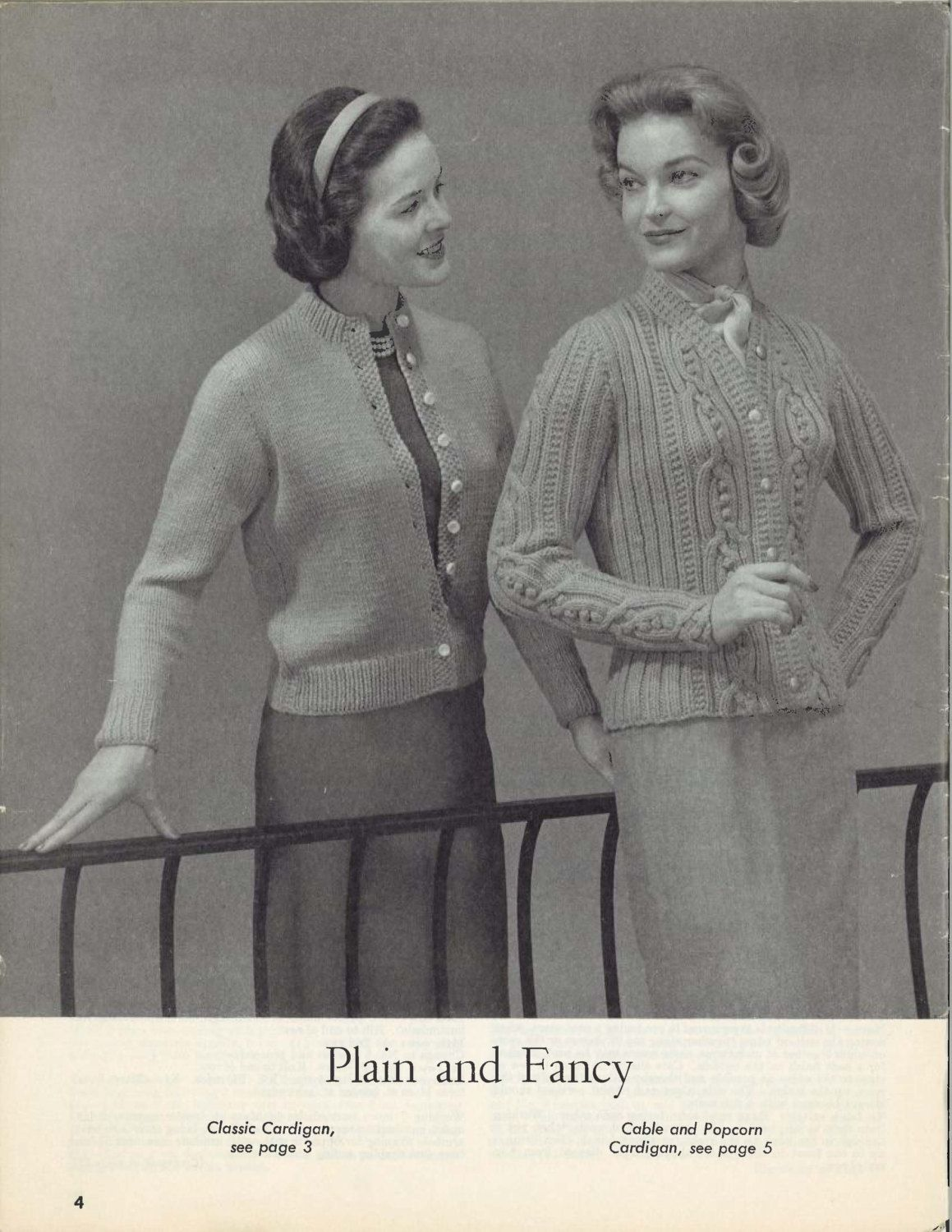 Cable & Popcorn • 1950s Cardigan Sweater Patterns • 50s Vintage ...