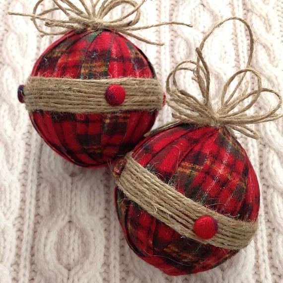 Christmas Ornaments / Xmas Plaid Fabric Ornaments / Flannel and