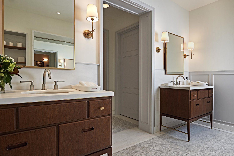 Bathroom / His and her vanity / Wood vanity / Wall sconces / Contemporary bathroom design & Bathroom / His and her vanity / Wood vanity / Wall sconces ...