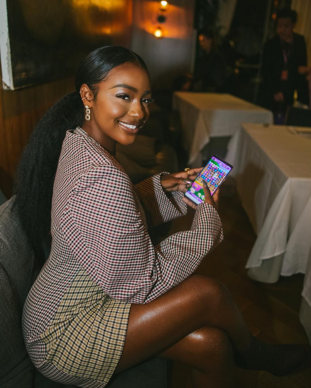 """791d960d759 Justine Skye on Instagram  """"Feeling Delicious 😋 w   CandyCrushSaga and  Just playing the new Candy Crush Friends Saga BRB  CandyCrushFriends  ad"""""""