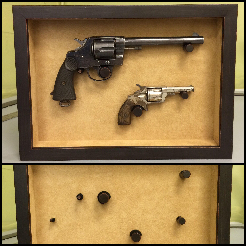 Double pistol handgun revolver gun display case cabinet rack shadowbox - Custom Gun Mounting Custom Gunsgun Racksshadow Box