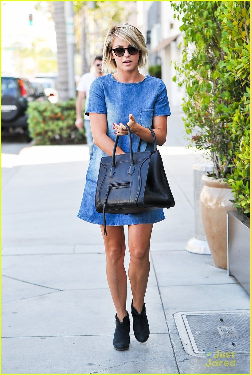 Julianne Hough: Blue Jean Dress for Il Pastaio Lunch #juliannehoughstyle