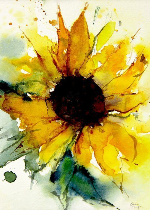 Watercolor Sunflower Greeting Card for Sale by Ann