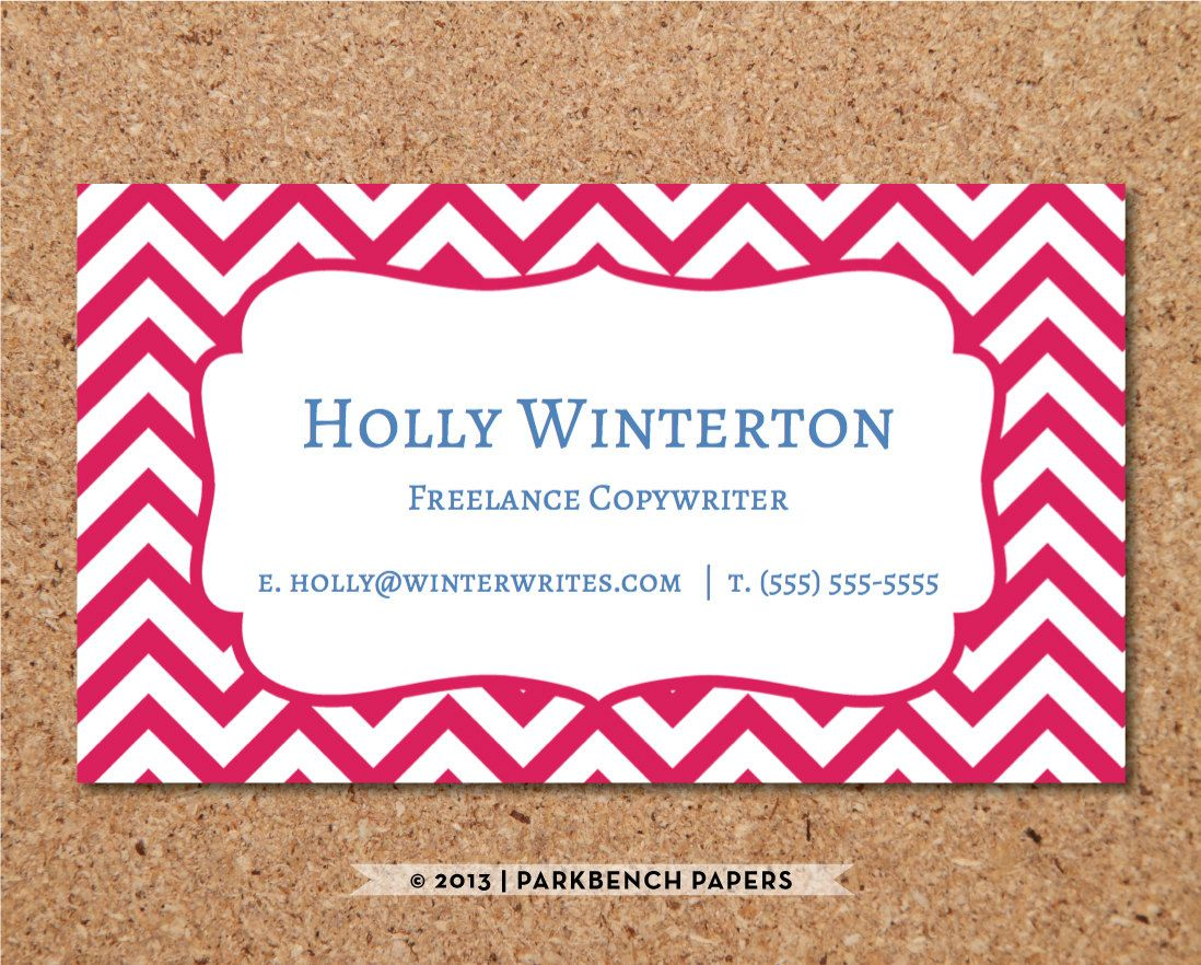 Business Card Template - Magenta Chevron - DIY Editable Word ...
