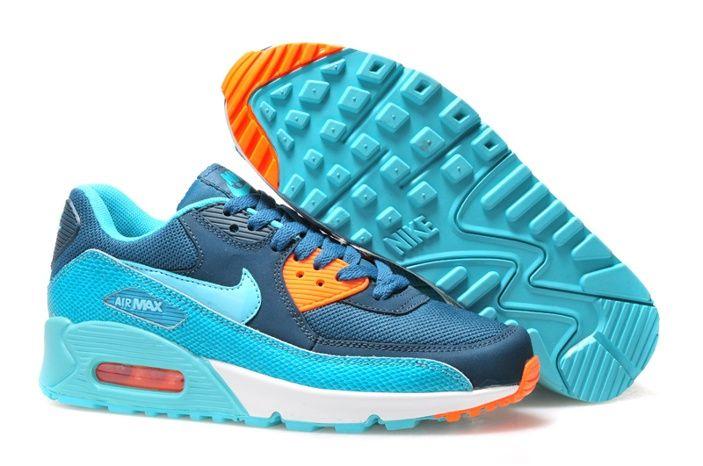 Meilleur Nike Air Max 90 Pour Chaussures Hommes Blanc Orange Bleu ...