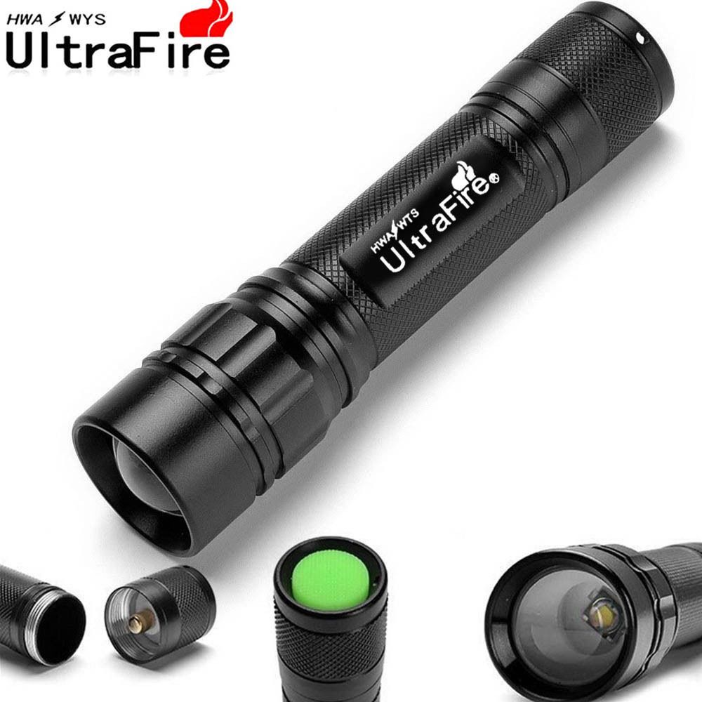 Ultrafire Tactical 50000LM Zoomable T6 LED Flashlight 18650 Battery+Charge+Case
