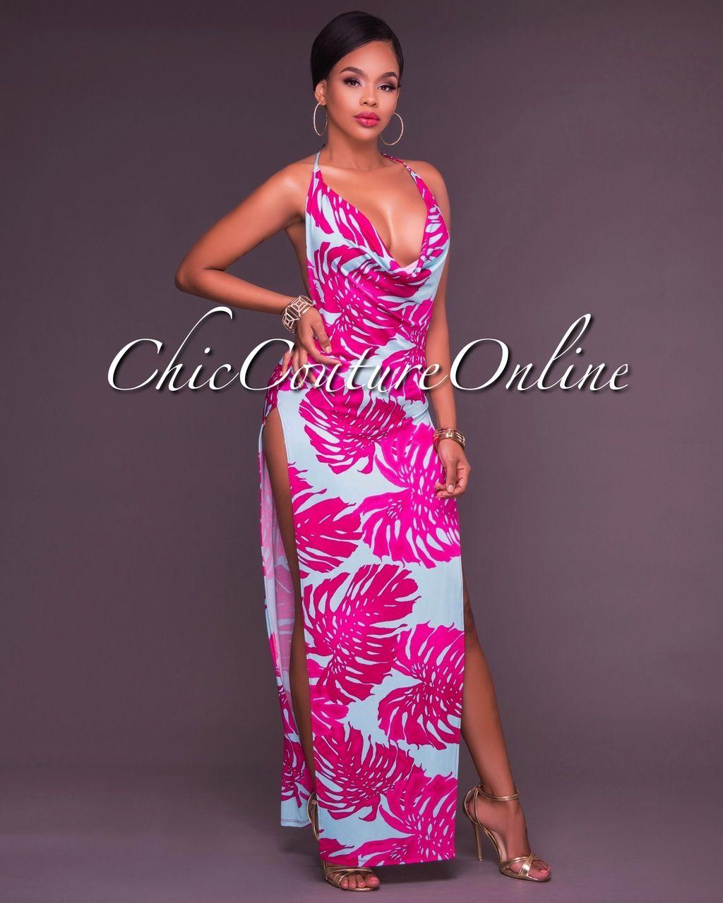 Jemima Fuchsia Bold Multi Color Ultra Sexy Maxi Dress