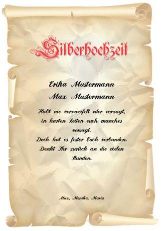 Beispiel: Muster-Urkunde-Silberhochzeit | Urkunden | Pinterest ...