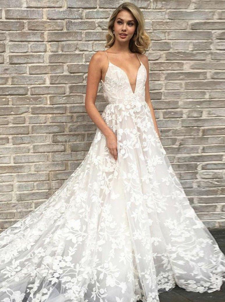 A-Linie Spahettiträger Spitze Hochzeitskleid mit Taschen  Kleider