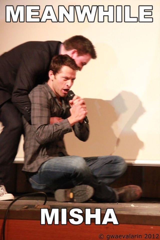 Misha literally being dragged off stage.