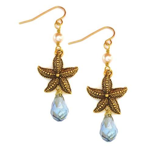 Nautical Starfish Earrings with ocean blue crystals from Baubella. $44 www.baubella.com