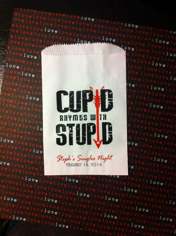 Antivalentine S Day Party Favor Bags 20 Cupid Rhymes By Sosiatogo