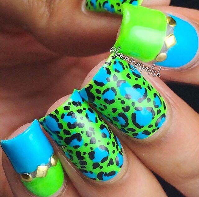 Neon leopard print by @lemmingpolish