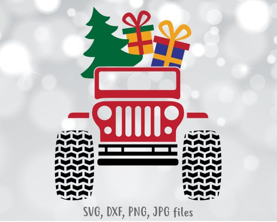 Christmas Jeep Silhouette.Christmas Jeep Svg Christmas Truck With Tree Svg Jeep Svg
