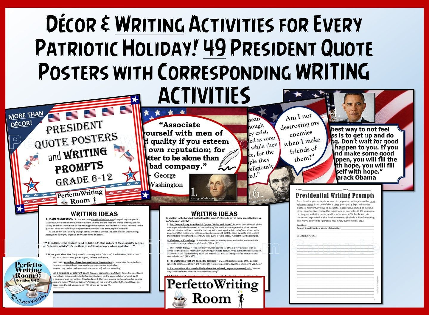 President Posters And Writing Prompts For Grades 6 7 8