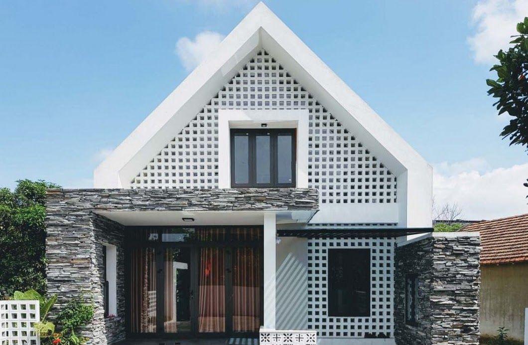 Diseño de pequeña casa de dos pisos moderna, armoniosa estructura