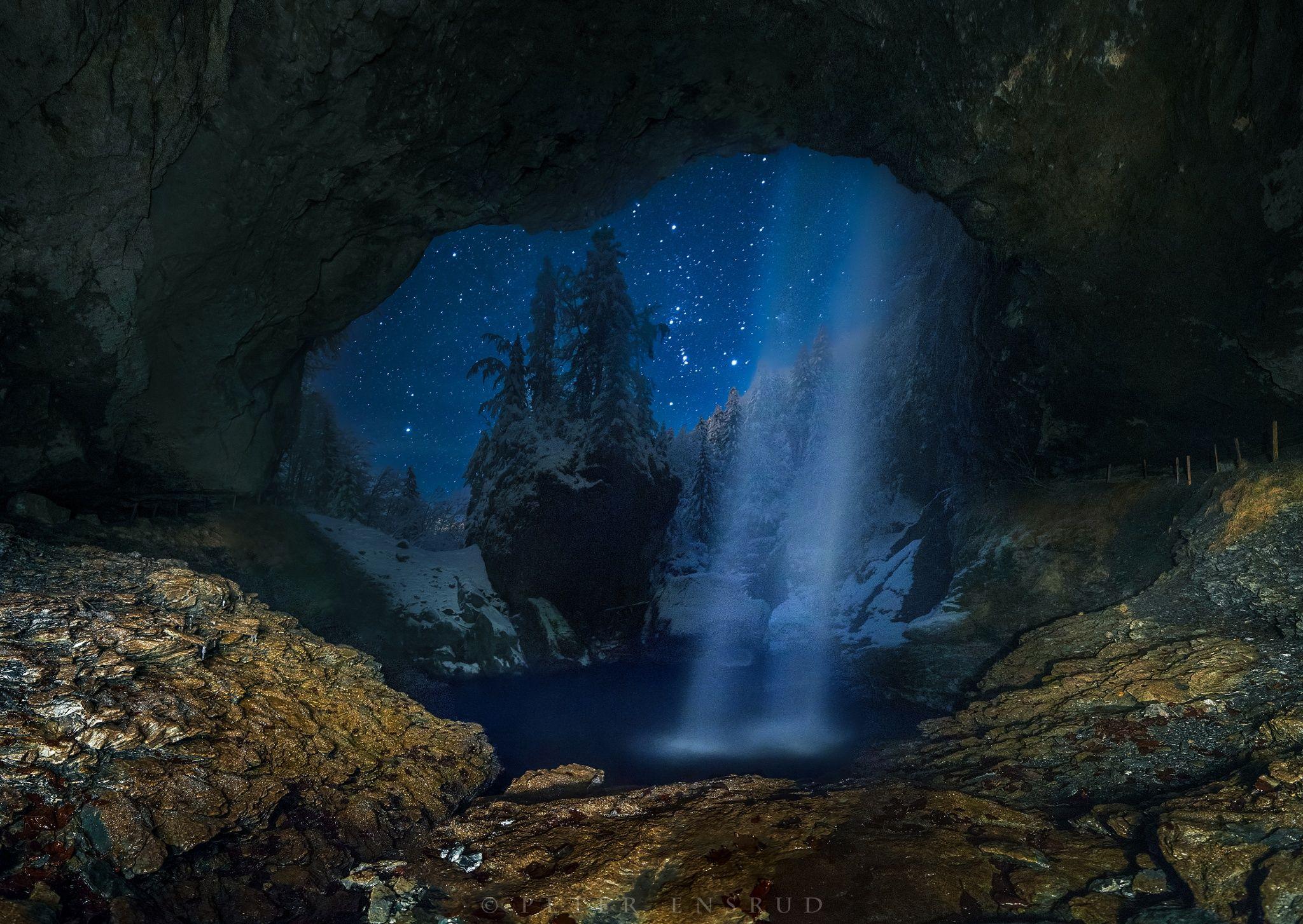 Berglistüber Cave by Peter Ensrud on 500px.... #alps #astrophotography #cave #glarus #light painting #linthal #long exposure #longexposure #night #night photography #nightscape #panorama #snow #stars #switzerland #waterfall #Unesco #swiss #sardona