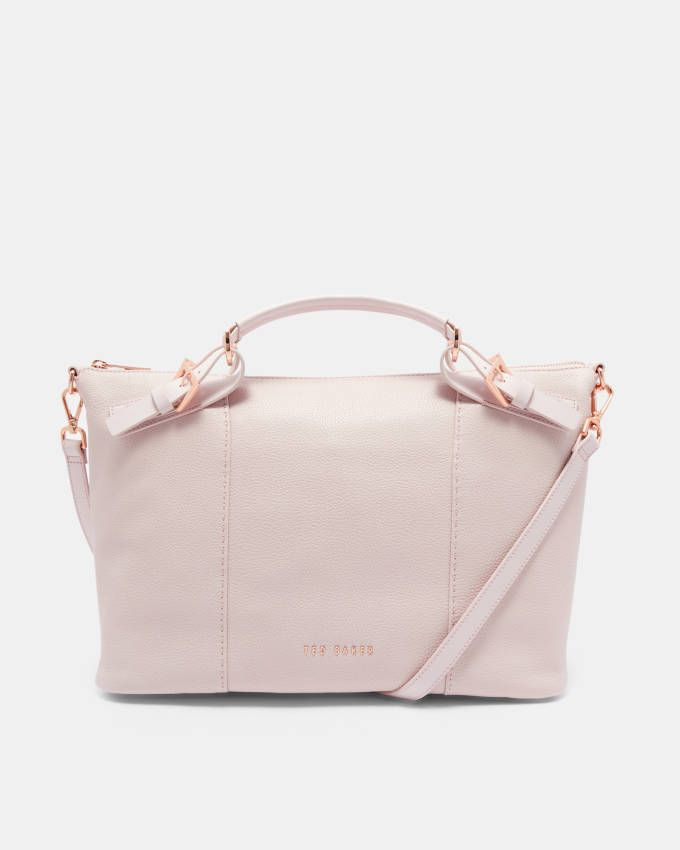 dd90021ce Ted Baker SALBEE Pop handle large leather tote bag in Dusky Pink 138486