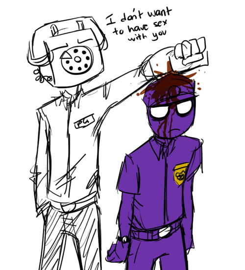 For Everyone Who Ships Purple Guy And Phone Guy Aka Keep It Pg Five Nights At Freddy S Fnaf Night Guards Purple Guy Fnaf