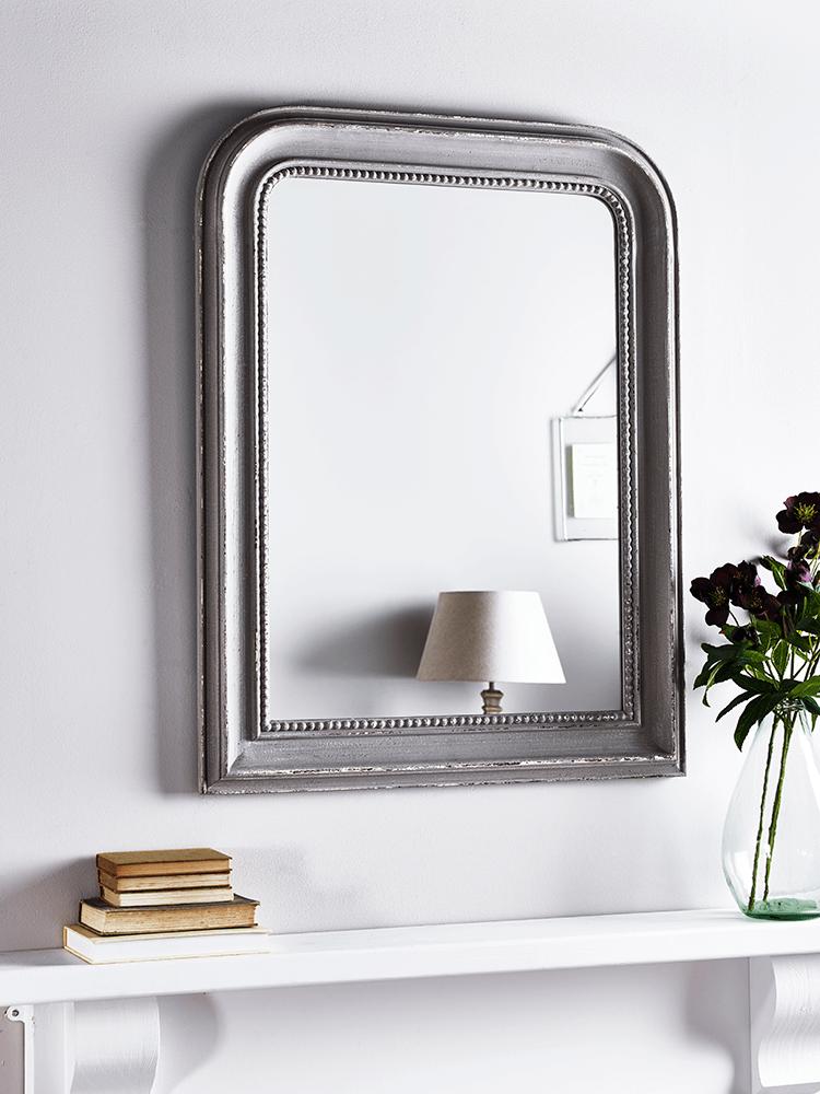 NEW Distressed Grey Beaded Edge Mirror   Indoor Living
