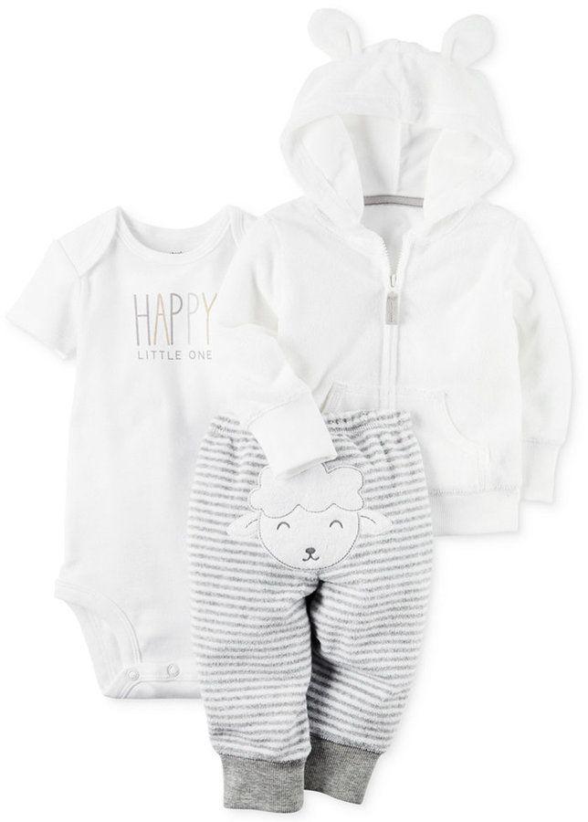 Carter S 3 Pc Hoodie Happy Bodysuit Lamb Pants Set Baby Boys Girls Baby Girl Pants Kids Outfits Carters Baby Girl