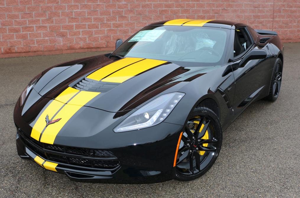 Black C7 Z51 With Full Length Yellow Racing Stripes Corvette Chevy Corvette Corvette Summer