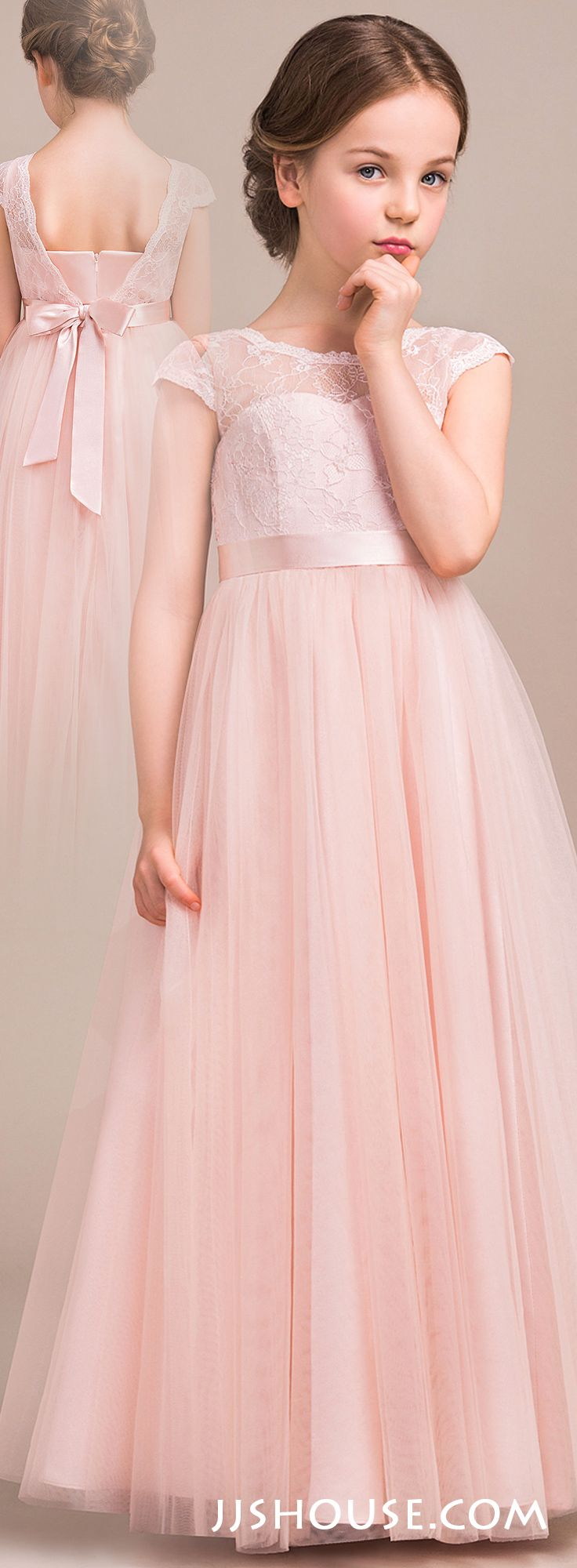 Alineprincess scoop neck floorlength tulle lace junior bridesmaid