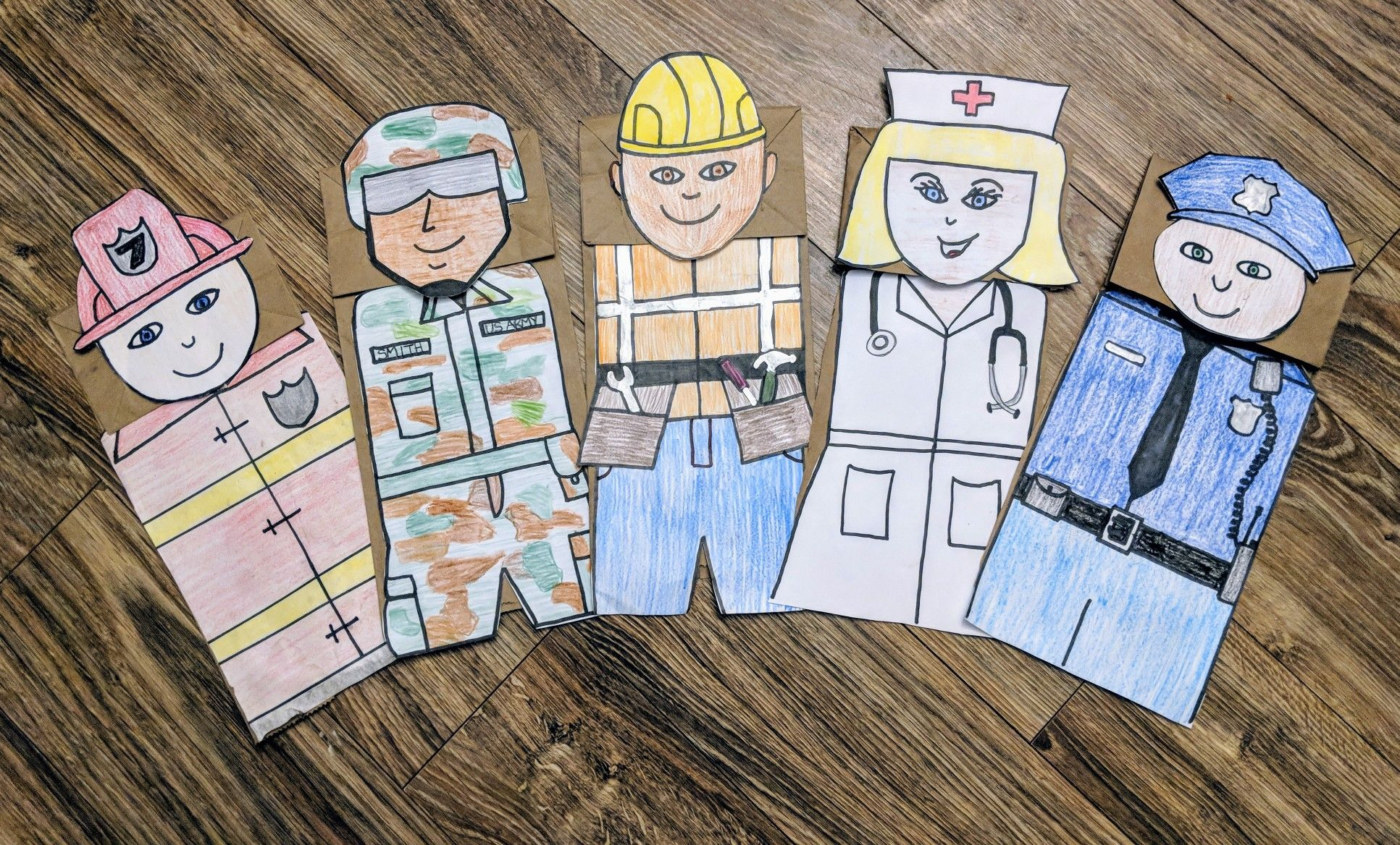 Paper Bag Puppets Community Helpers Templates