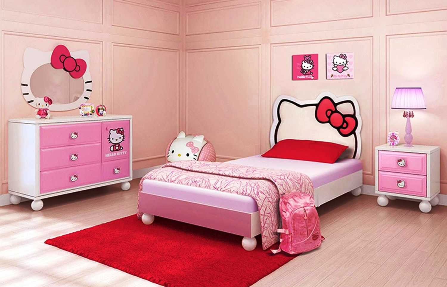 Kids room ideas for girls hello kitty - Awesome Bedroom Hello Kitty Decoration With Red Large Rugs Under Bed And Wall Mirror Also Using