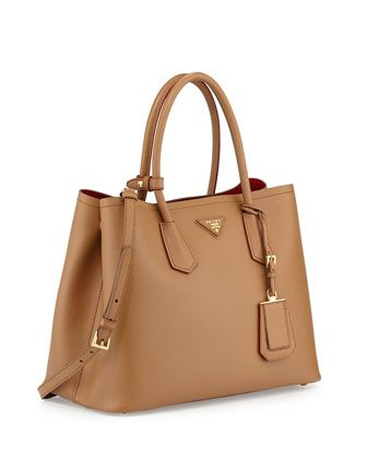 ca4e24df0b32 Saffiano Cuir Medium Double Bag Camel (Carmello) in 2019 | Handbags ...