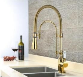 European Style Brass Gold Chrome Finished Kitchen Faucet Pull Out