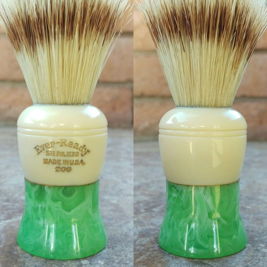 Details about antique koken barber chair talcum brush model talc art - Vintage Cream And Green Bakelite Ever Ready 200 Shaving Brush