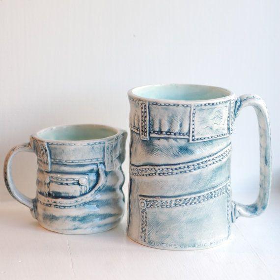 Denim Jeans Mug  Ceramic Mug  Ceramics and by McCheeksMayhem (Home & Living, Kitchen & Dining, Drink & Barware, Drinkware, Mugs, ceramic, mug, denim, jeans, acid wash, mccheeks mayhem)