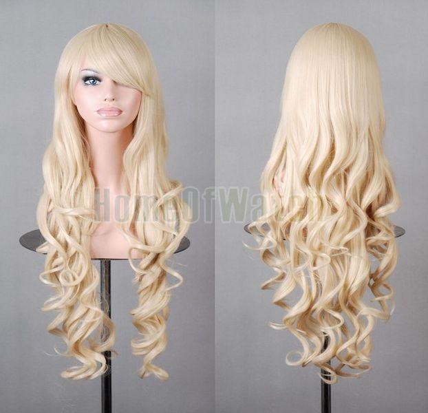 MapofBeauty 32 80cm Light Purple Long Hair Curly Wavy Wig Cosplay Costume Wig
