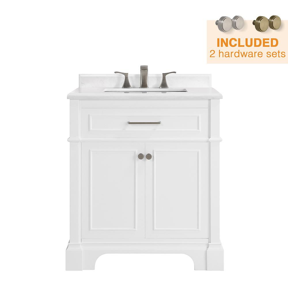 Home Decorators Collection Melpark 30 in. W x 22 in. D Bath Vanity in White with Cultured Marble Vanity Top in White with White Sink-Melpark 30W - The Home Depot