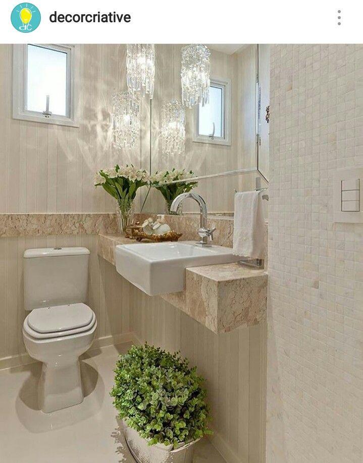 Lavabo pequeno e charmosinho Banheiro em 2019 Decoraç u00e3o de lavabo, Decoraç u00e3o banheiro e Lavabo -> Decoração De Banheiro Simples E Pequeno